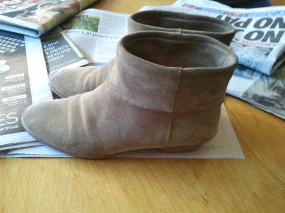 Suede boots from a garage sale for free