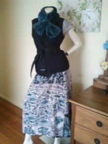 Styled with a vintage 1970s cotton wrap skirt made in India