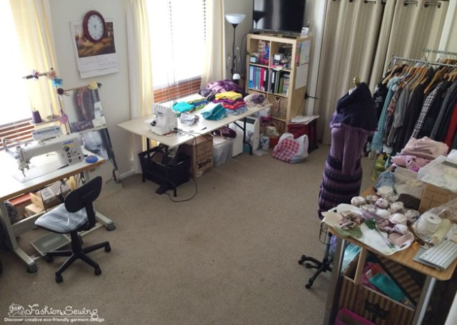 My sewing room recently after finishing a project (before vacuuming the floor;)