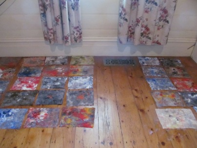 Baby wipes with paint from art class brushes left to dry and then used for art journaling by Sue